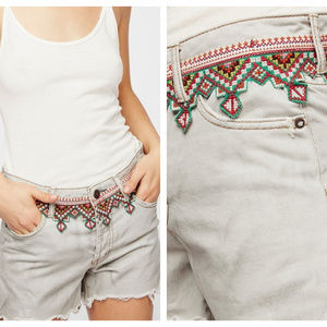 Free People Embroidered Cutoff Shorts Distressed